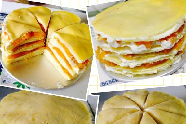 动物性蛋奶油400g 适量 芒果(大)2个 榴莲芒果千层蛋糕的做法步骤 7.