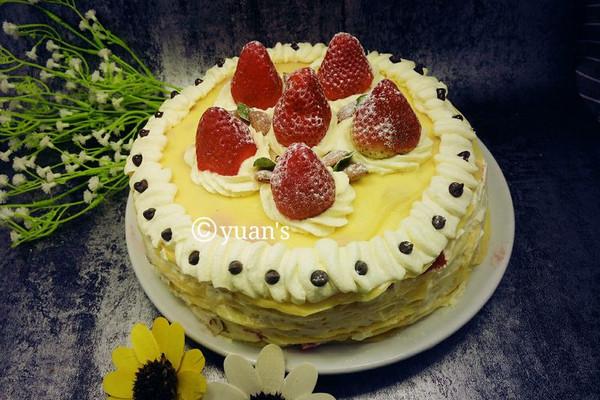 草莓千层蛋糕(可丽饼蛋糕)三能蛋卷模具制作 免烤蛋糕的做法