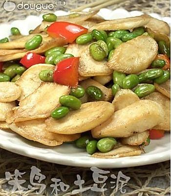茭白炒青豆 的做法