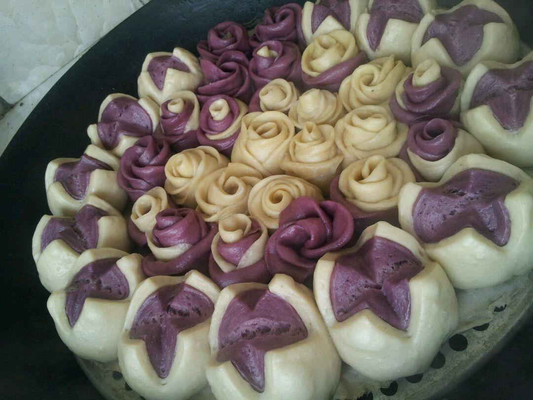 紫薯花样包子火龙果馒头的做法图解13