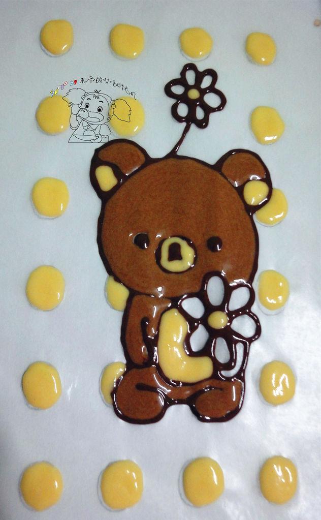 画出熊鼻子;用原色面糊填充