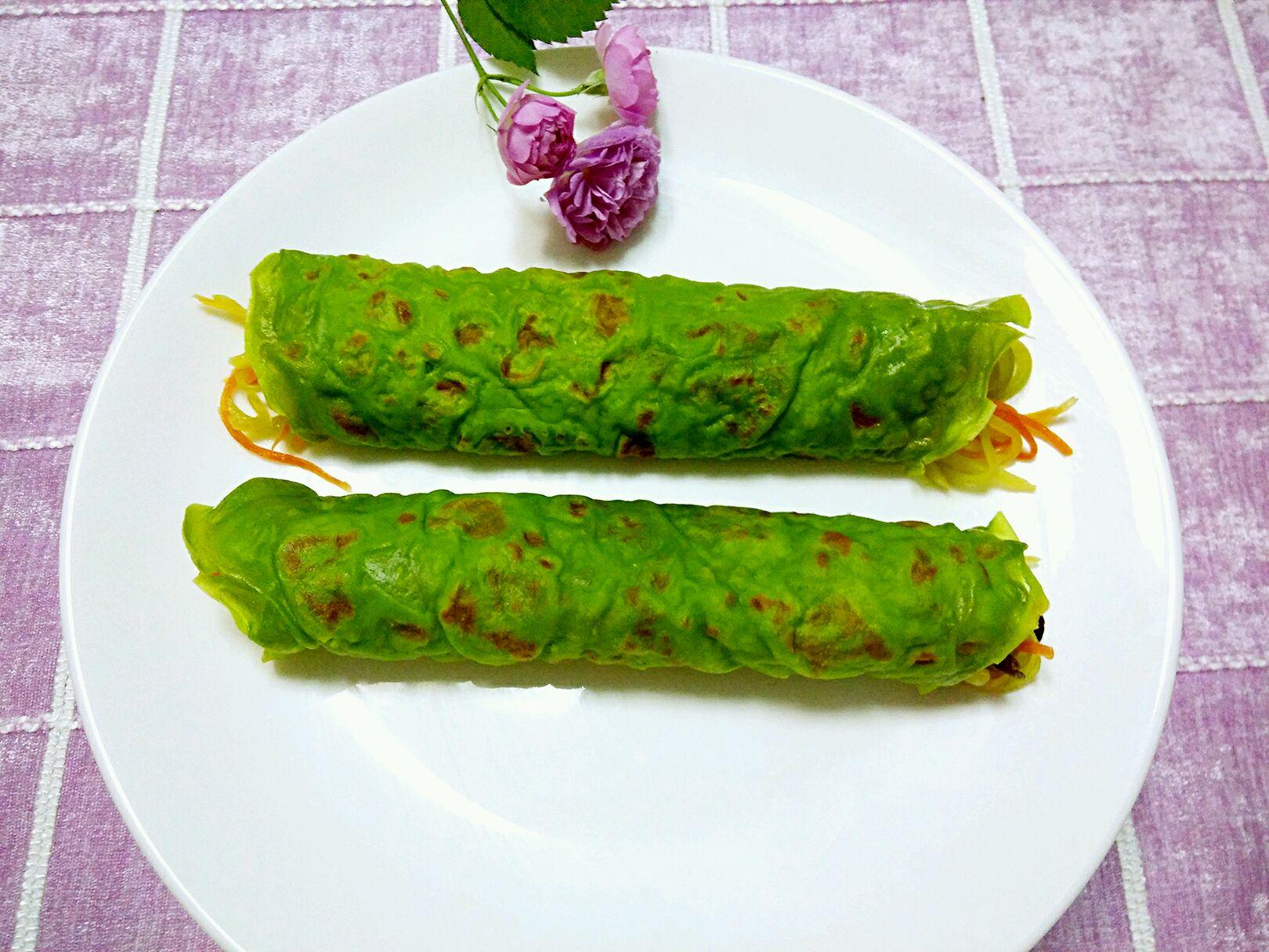 菠菜煎饼#春天中的一抹绿色