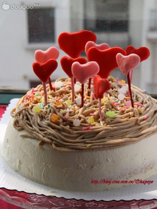 栗子泥40g 栗子丁50g 彩色糖果 翻糖 白油 色素 栗子奶油蛋糕的做法