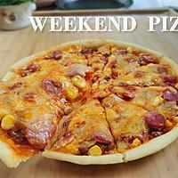 享受周末,红酱培根披萨,全自制饼底和酱汁,理科生做烘焙