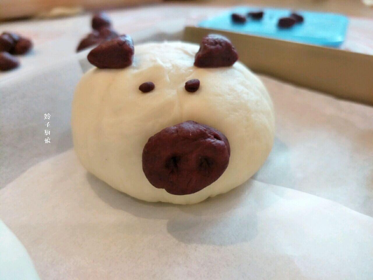 萌猪豆沙包的做法图解7