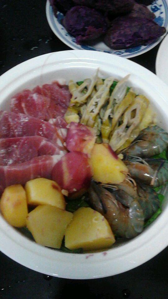 鲜虾咸肉蒸蔬菜的做法图解4