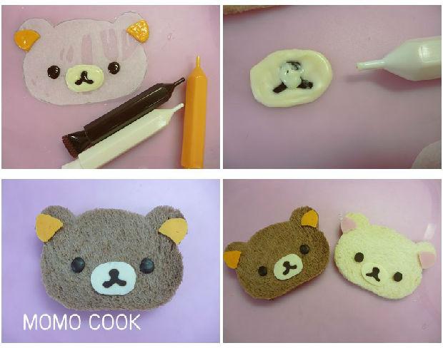 2. 5 准备巧克力色,白色,黄色,粉色四种巧克力笔.温水融化后,在画有画痕的烘焙纸的背面沿着画痕画出轻松熊的耳朵,嘴巴和眼睛部分.画好以后放杂冰箱内冷藏约半分钟,使其凝固. 6 凝固坚硬的巧克力,就可以轻松地从烘焙纸上脱落下来,然后用融化的巧克力抹在做好的眼睛,嘴巴等背面.