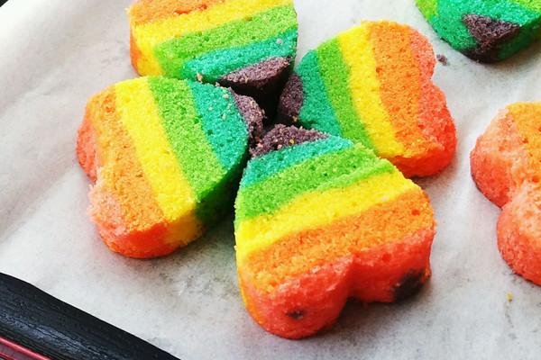 七夕的彩虹心形磅蛋糕的做法