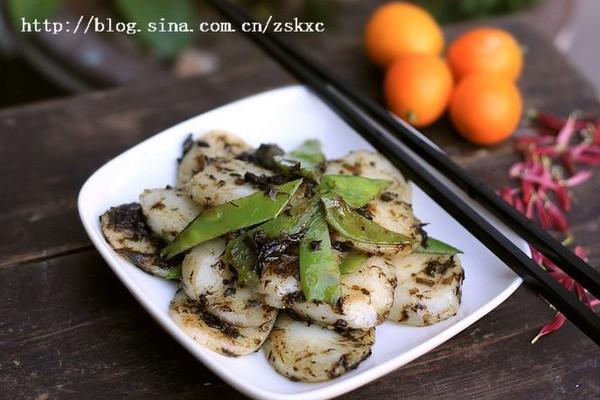 橄菜四季豆炒年糕的做法