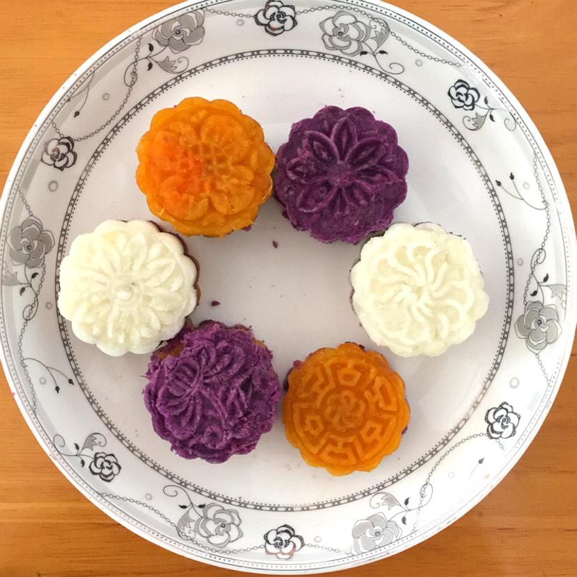 山药紫薯红薯糕的做法图解7