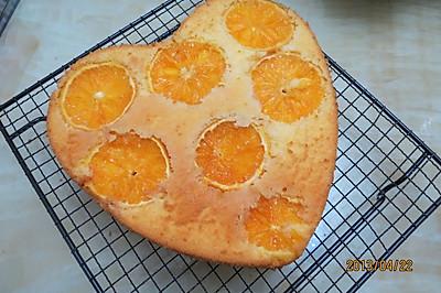 8寸心形橙片黄金海绵蛋糕及剩余蛋清做的无油蜜豆天使蛋糕