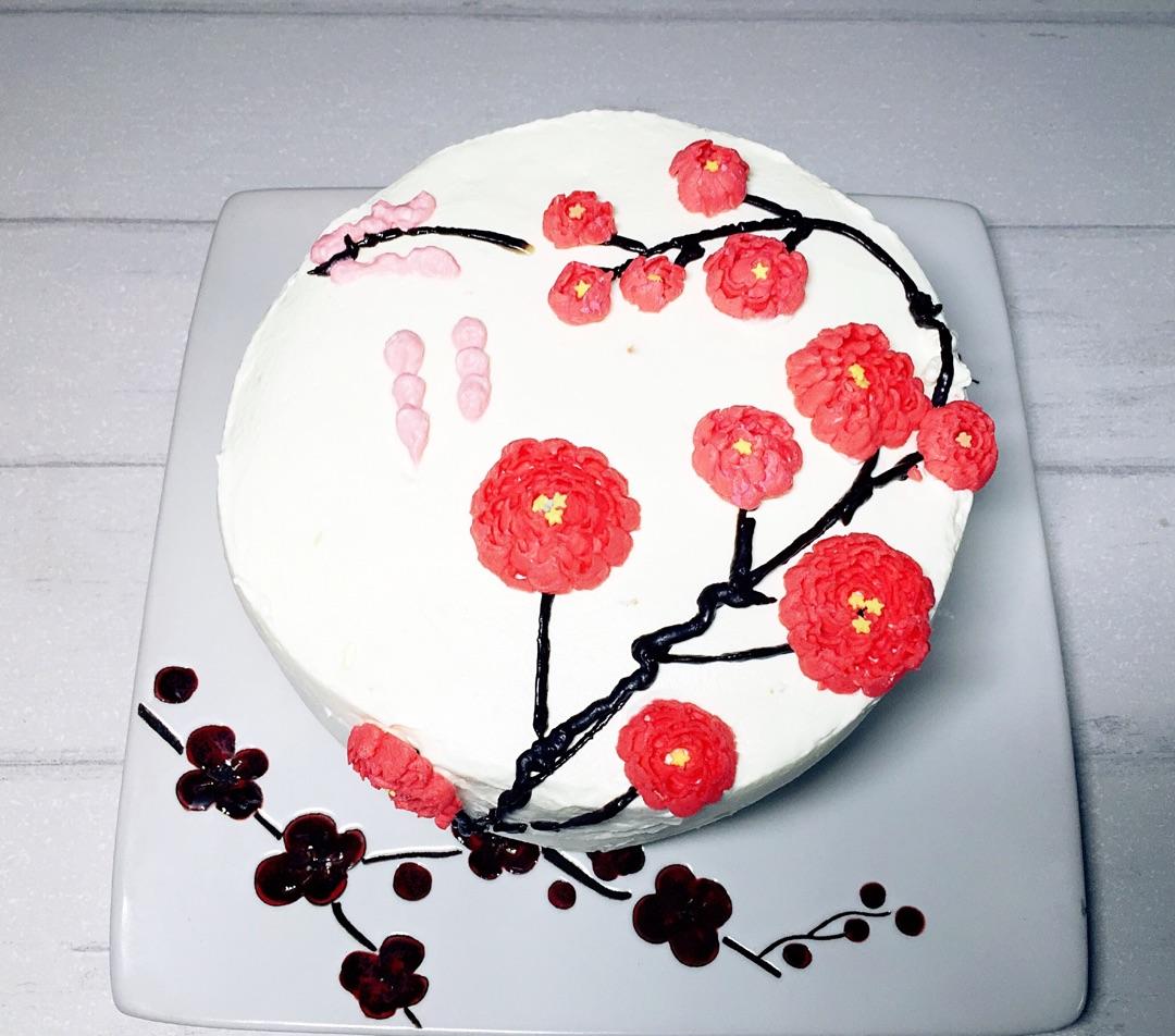 梅花裱花奶油蛋糕的做法图解3