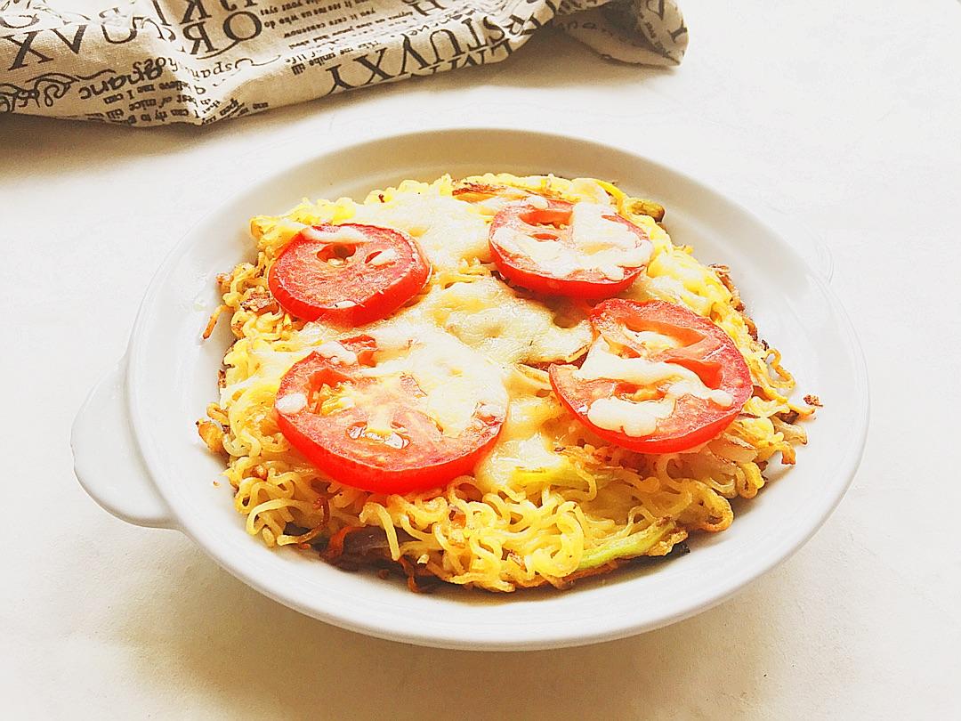 时蔬泡面披萨#小虾创意料理图片
