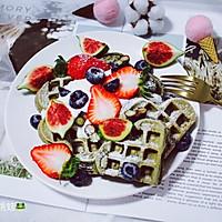 抹茶草莓华夫饼