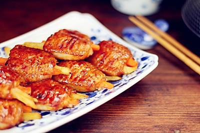 胡萝卜土豆无骨烤鸡翅