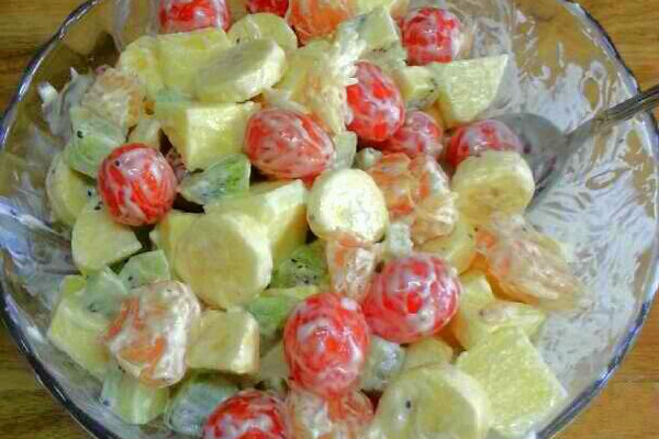 减肥水果沙拉的做法步骤 小贴士 水果数量可自己定,按个人所做