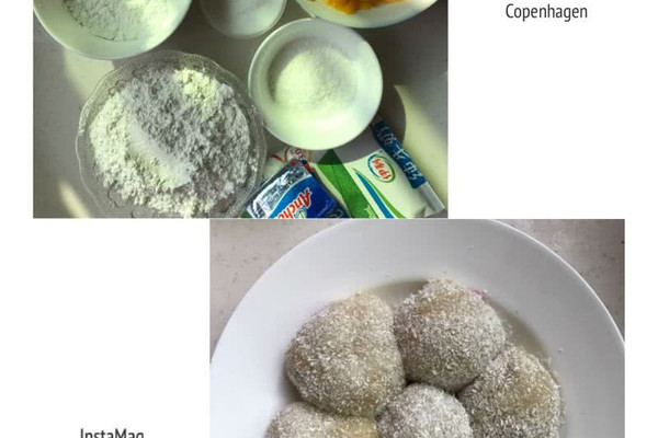 牛奶240ml 椰蓉20g 芒果适量 火龙果适量 水果麻糍的做法步骤