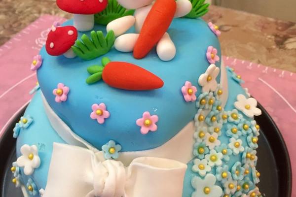 这是我做给我家宝贝的两岁生日蛋糕,她现在很喜欢小兔子,所以