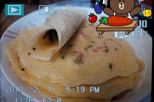 鸡蛋火腿摊葱花饼的做法