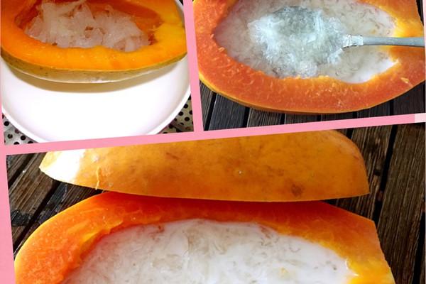 1. 先将燕窝泡几个小时,在将木瓜挖空,在把泡好的燕窝放进木瓜里加冰糖