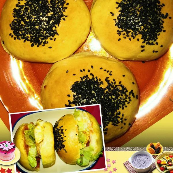 达令达令的使用小麦汉堡包#熙悦早餐高筋漫画自制架食品图片