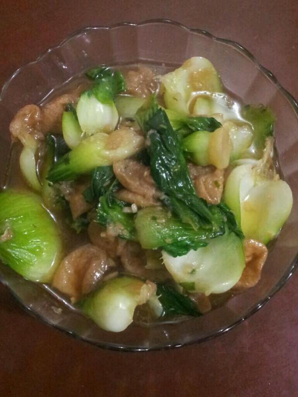 简单家常菜---青菜烧油面筋的做法