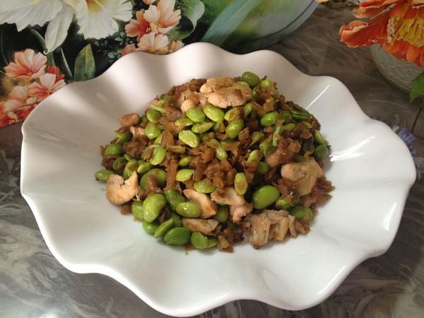 咸瓜炒毛豆的做法