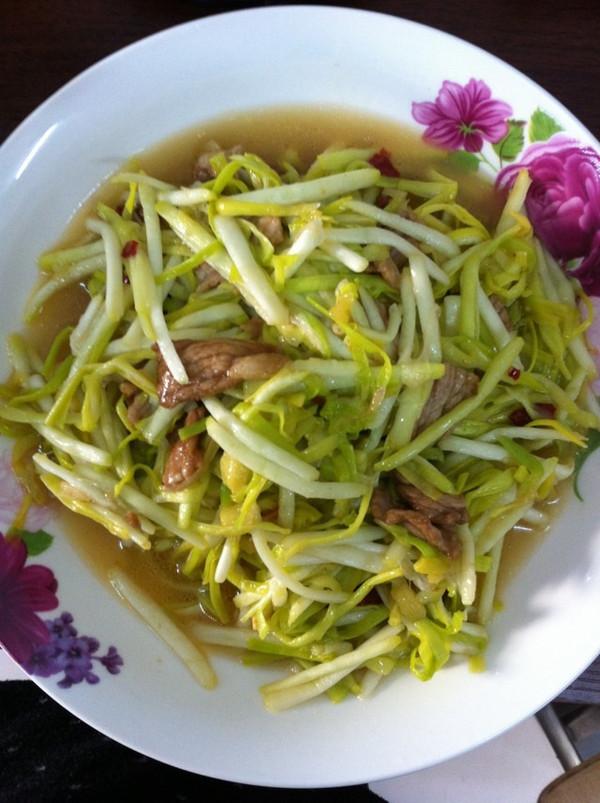 蒜黄炒肉丝的做法