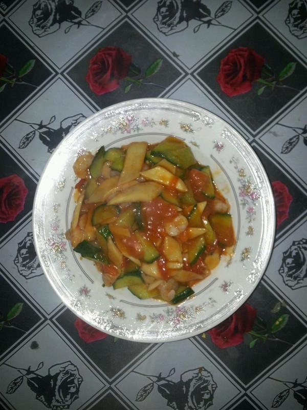 茄汁虾仁--献给麦秸小孕妇的做法