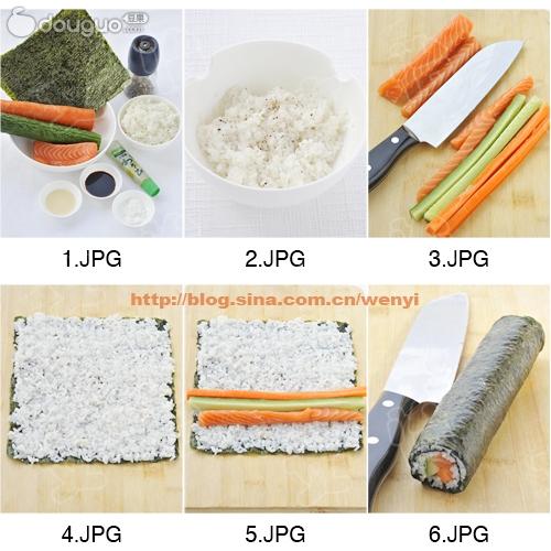 三文鱼寿司的做法步骤 2.
